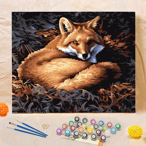 "DIY Painting By Numbers -  silver fox (16""x20"" / 40x50cm)"