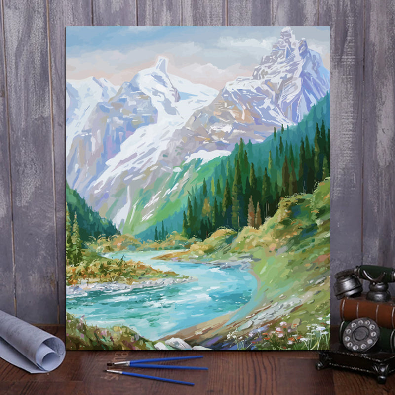 "DIY Painting By Numbers -  Mountains and rivers (16""x20"" / 40x50cm)"