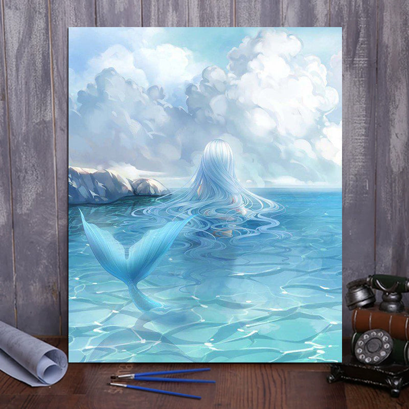 "DIY Painting By Numbers -  Cartoon mermaid (16""x20"" / 40x50cm)"