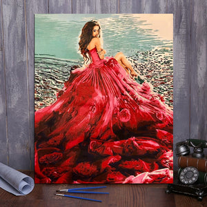"DIY Painting By Numbers - Red Dress Girl (16""x20"" / 40x50cm)"