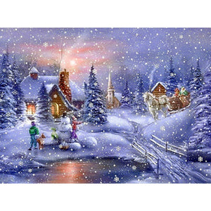 DIY Diamond Painting Kit  - Evening snow scene