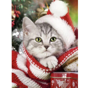 DIY Diamond Painting Kit  - Christmas cat