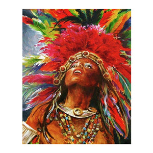 "DIY Painting By Numbers - Native American - girl  (16""x20"" / 40x50cm)"