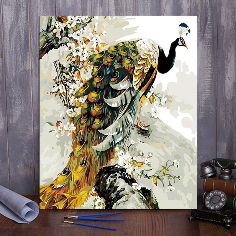 "DIY Painting By Numbers - Golden peacock (16""x20"" / 40x50cm)"