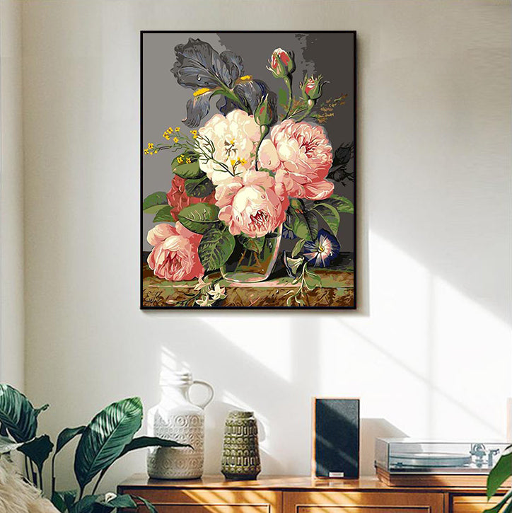 "DIY Painting By Numbers - Pink hibiscus (16""x20"" / 40x50cm)"