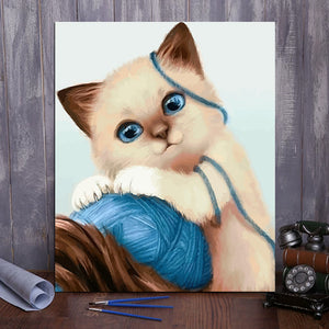 "DIY Painting By Numbers - Cute kitty (16""x20"" / 40x50cm)"