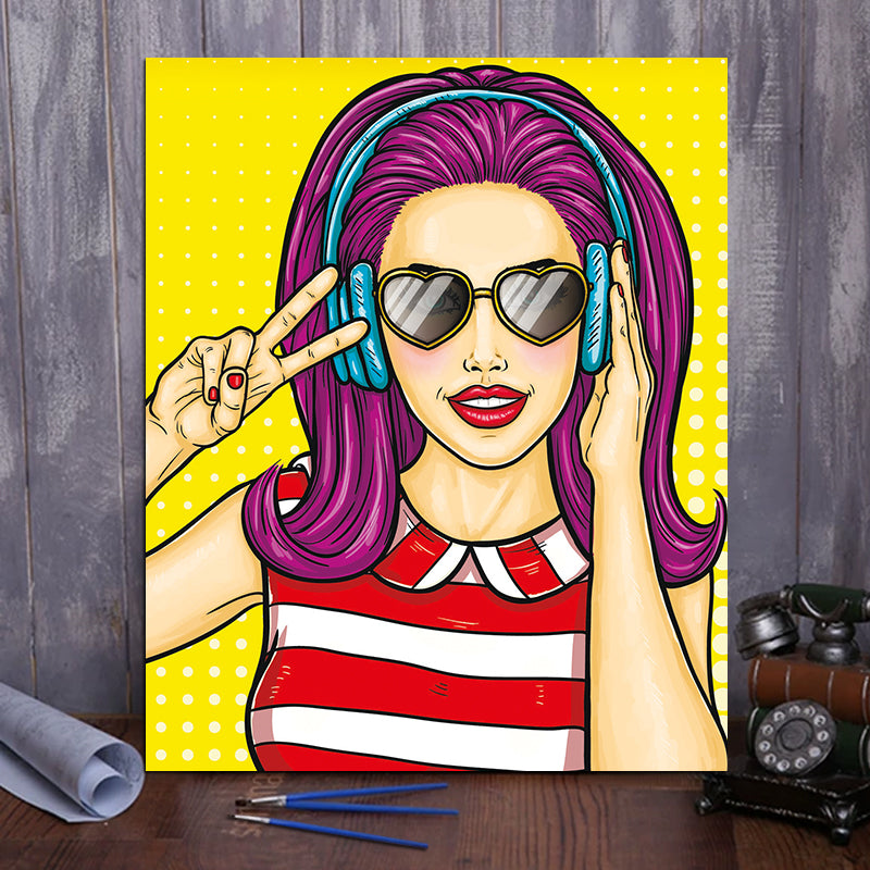 "DIY Painting By Numbers - Cartoon beauty girl (16""x20"" / 40x50cm)"