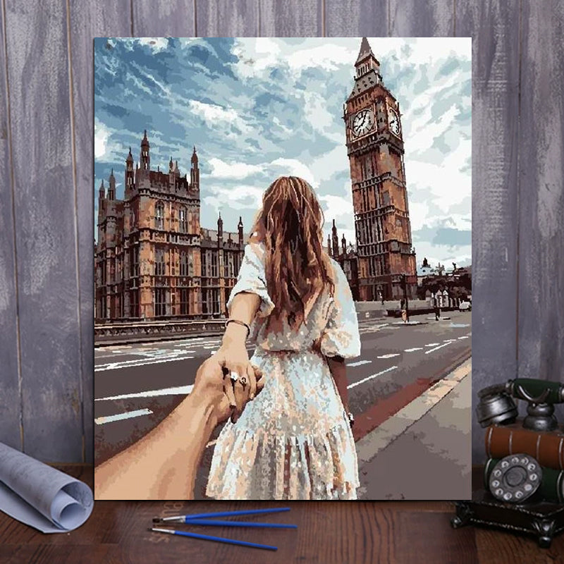 "DIY Painting By Numbers - Girl And Big Ben (16""x20"" / 40x50cm)"