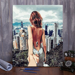 "DIY Painting By Numbers - Couple in Hong Kong (16""x20"" / 40x50cm)"
