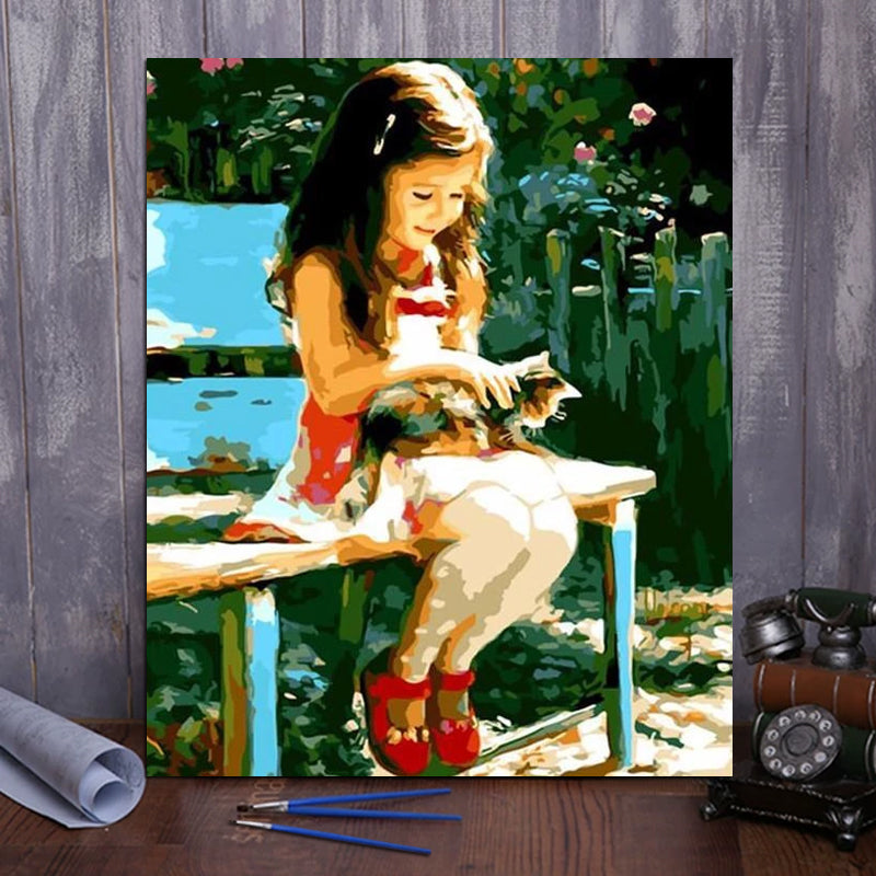 "DIY Painting By Numbers - Cute Girl (16""x20"" / 40x50cm)"
