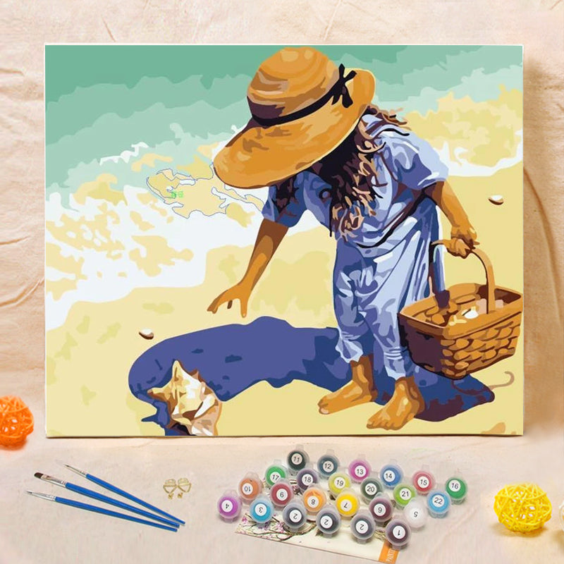 "DIY Painting By Numbers -  Little Girl On The Beach(16""x20"" / 40x50cm)"
