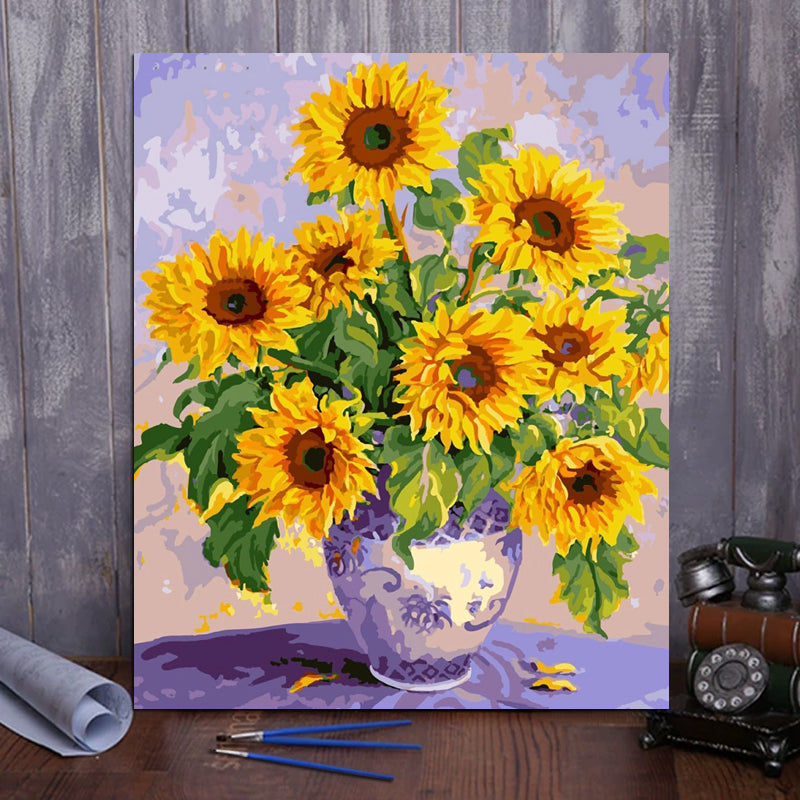 "DIY Painting By Numbers - Beautiful Sunflower (16""x20"" / 40x50cm)"