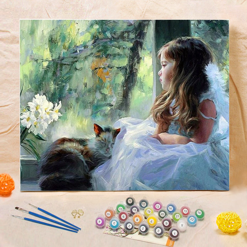 "DIY Painting By Numbers - Girl And Cat (16""x20"" / 40x50cm)"