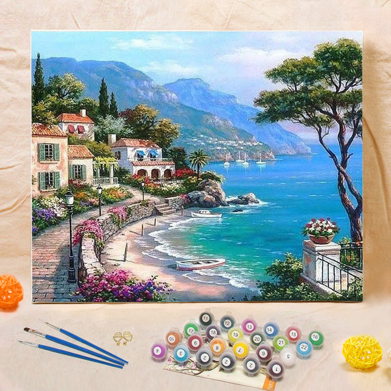 "DIY Painting By Numbers - The Mediterranean Sea (16""x20"" / 40x50cm)"