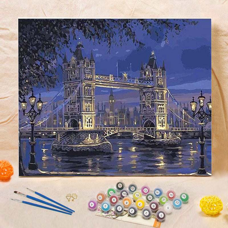 "DIY Painting By Numbers - London Tower Bridge (16""x20"" / 40x50cm)"