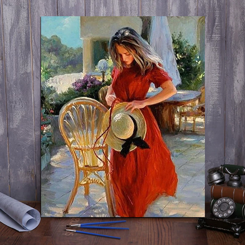 "DIY Painting By Numbers - Woman in Red Dress (16""x20"" / 40x50cm)"