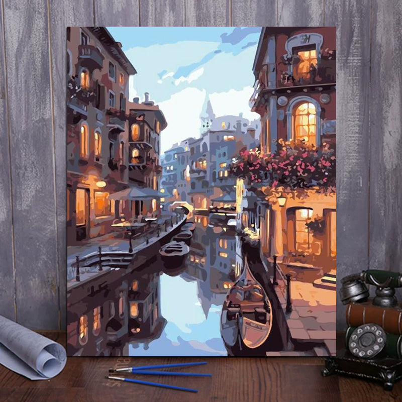 "DIY Painting By Numbers - Water City (16""x20"" / 40x50cm)"