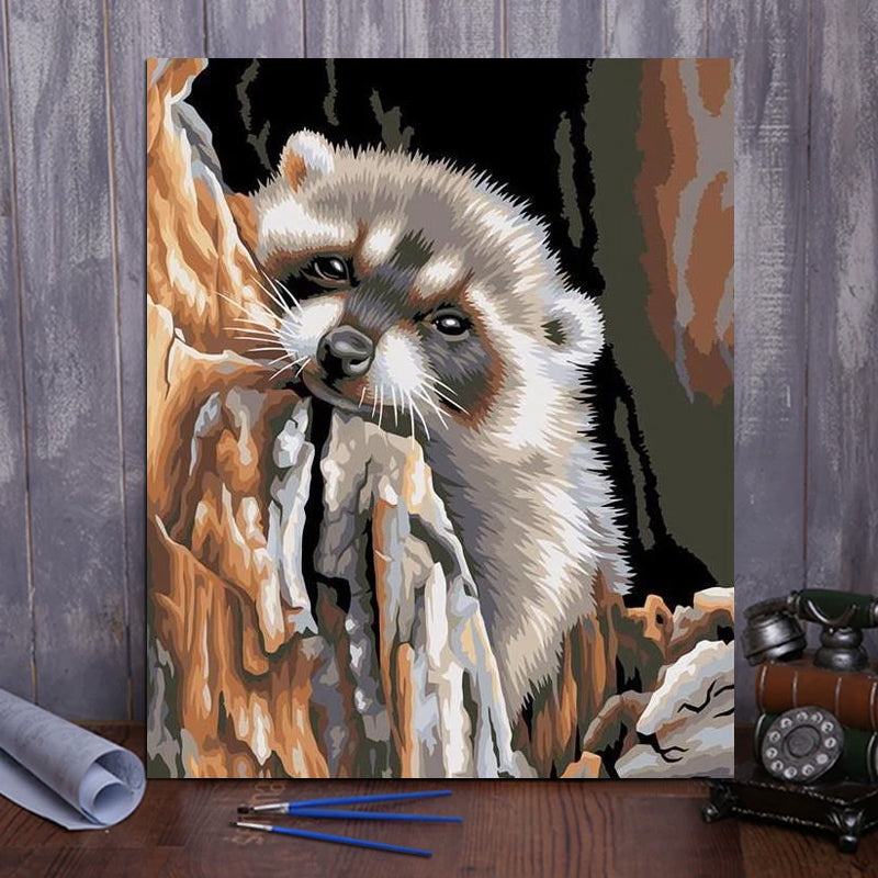 "DIY Painting By Numbers - Raccoon (16""x20"" / 40x50cm)"