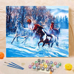 "DIY Painting By Numbers - Horses (16""x20"" / 40x50cm)"