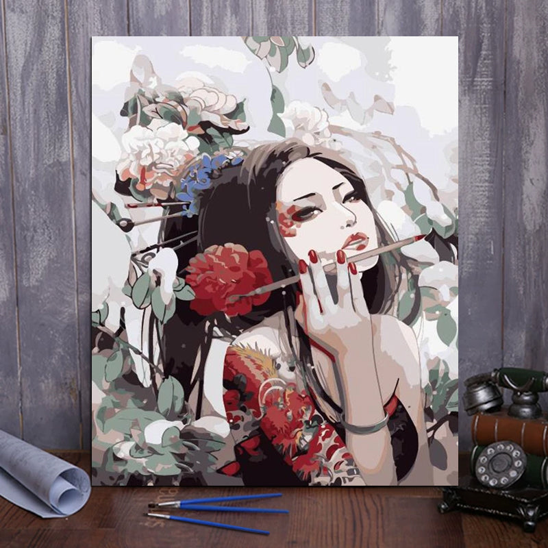 "DIY Painting By Numbers - Woman With Tattoo (16""x20"" / 40x50cm)"