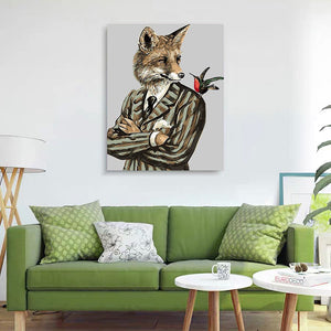"DIY Painting By Numbers - Wolf In A Suit  (16""x20"" / 40x50cm)"