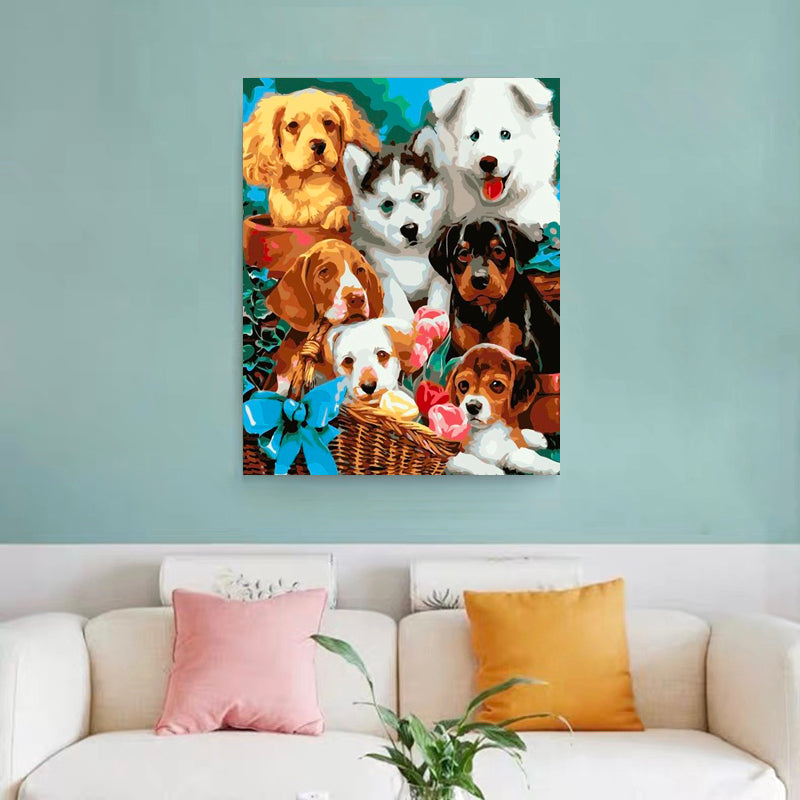 "DIY Painting By Numbers - Puppies(16""x20"" / 40x50cm)"