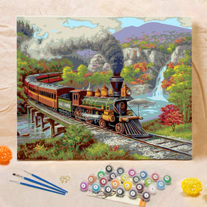 "DIY Painting By Numbers -Train  (16""x20"" / 40x50cm)"