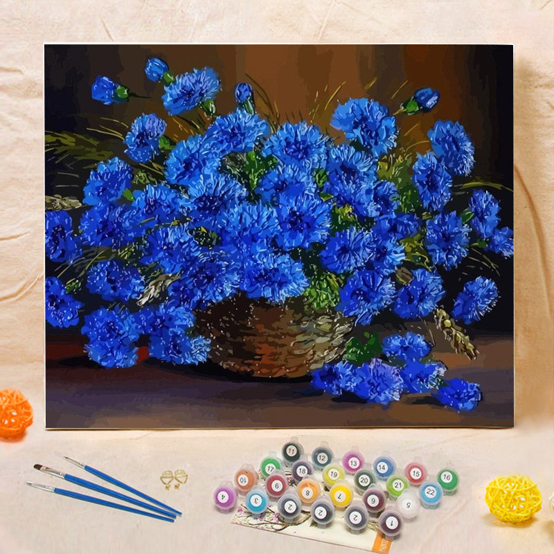 "DIY Painting By Numbers -Blue Flower  (16""x20"" / 40x50cm)"