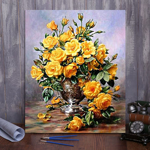 "DIY Painting By Numbers - Yellow Flowers (16""x20"" / 40x50cm)"