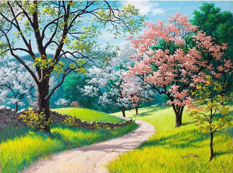 "DIY Painting By Numbers - Cherry Blossoms Trail (16""x20"" / 40x50cm)"