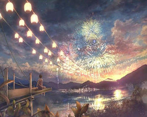 "DIY Painting By Numbers - Fireworks At Night (16""x20"" / 40x50cm)"