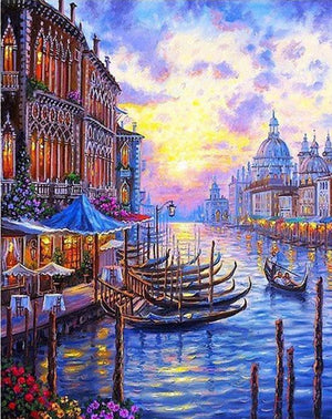 "DIY Painting By Numbers - Venice Sunset (16""x20"" / 40x50cm)"
