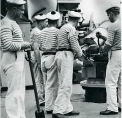 French Sailors in their Breton Stripe Shirts