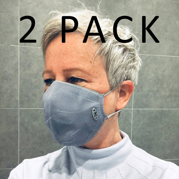 Polyester Face Mask (Grey) British Made (2 Pack)