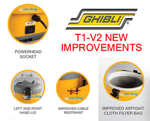 Ghibli T1v2 backpack vacuum cleaner improvements