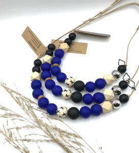 Cute as a Button necklace cobalt blue