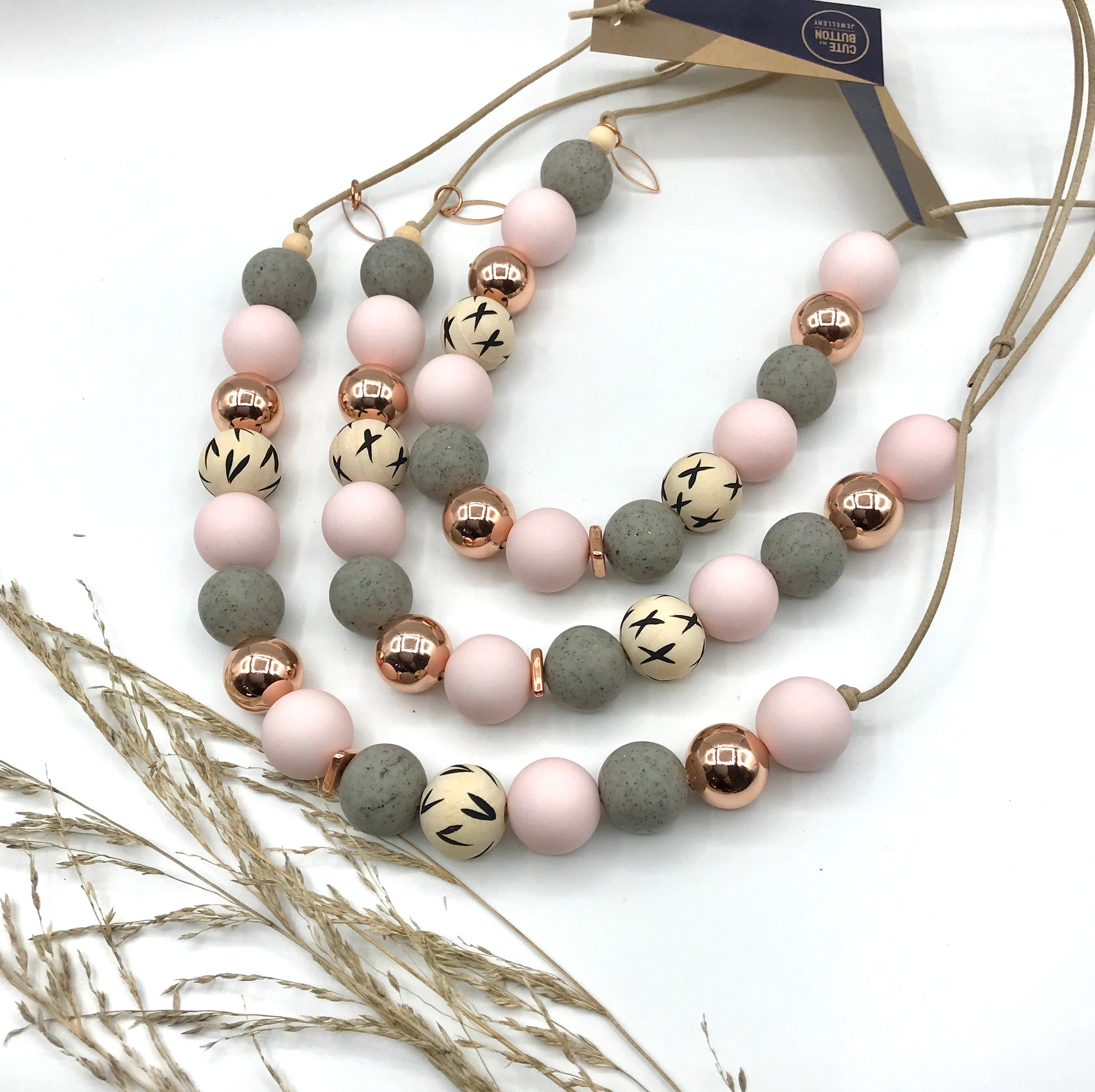 Cute as a Button necklace pink and grey