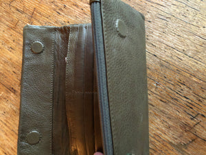Wallet, leather Dusky Robin, olive green