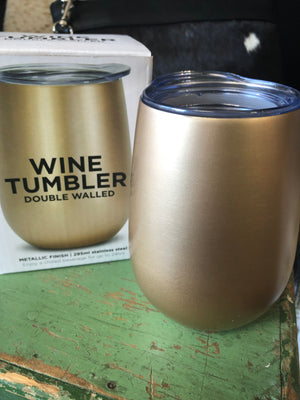 Wine Tumbler - Double Walled Gold