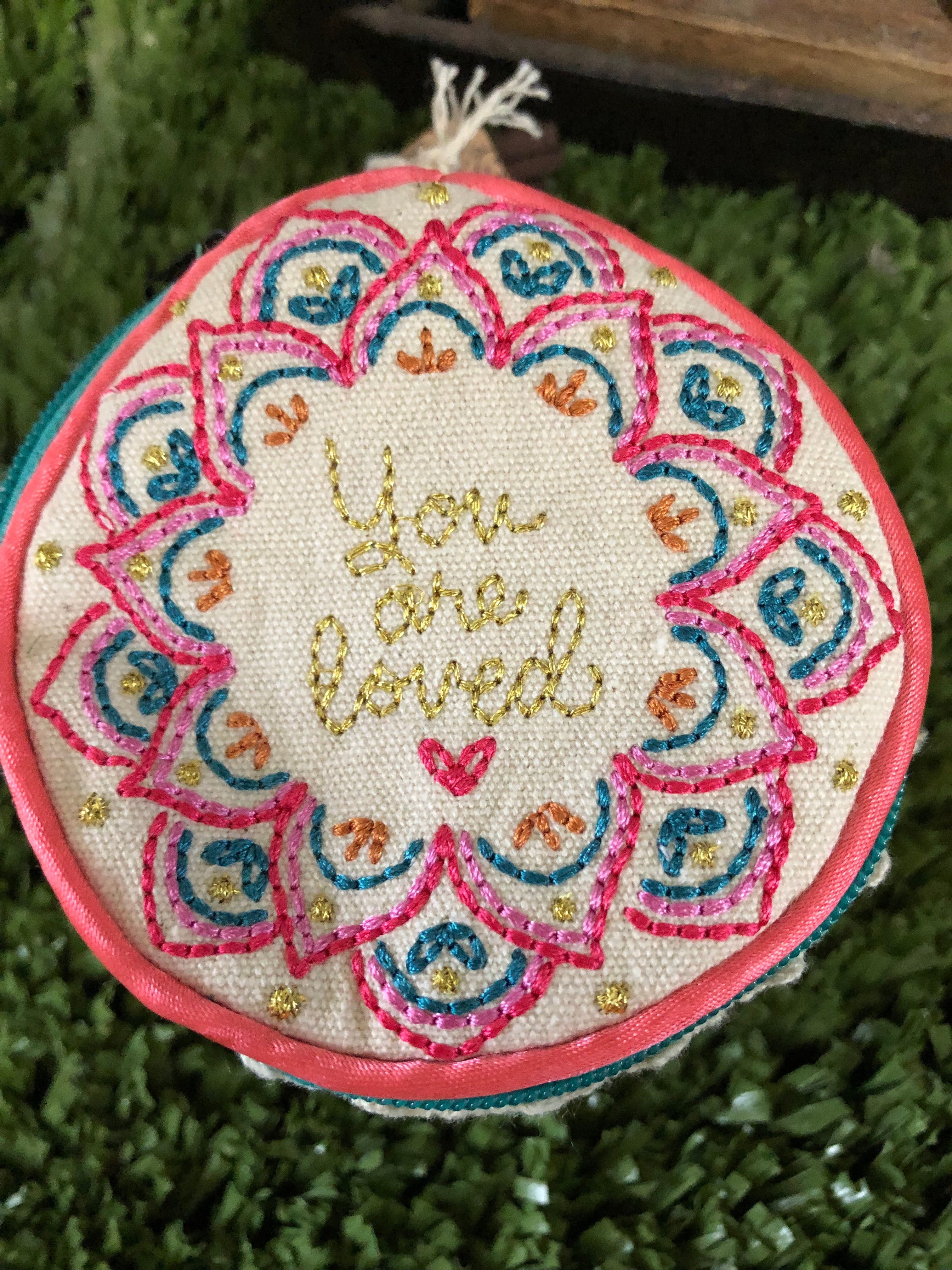 Coin Purse/Jewellry Round  'you are loved'