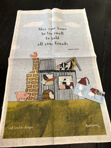 "Tea Towel Red Tractor Designs ""May your home be too small to hold all your friends."""