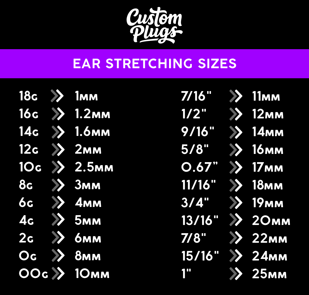 ear stretching sizes