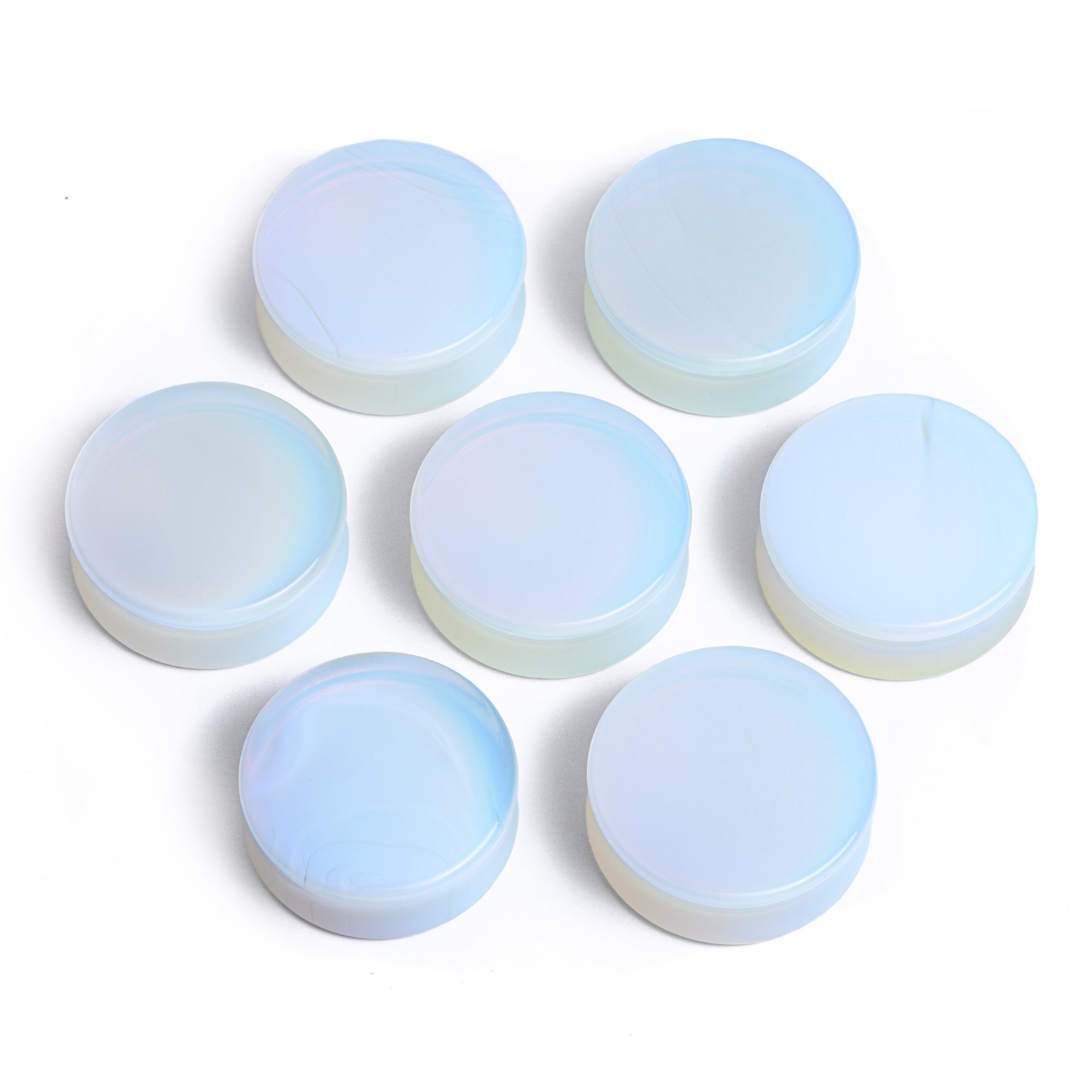 Opalite Moon Shaped Double Flared Plugs 16mm 18mm 20mm 22mm 25mm 28mm 30mm 32mm