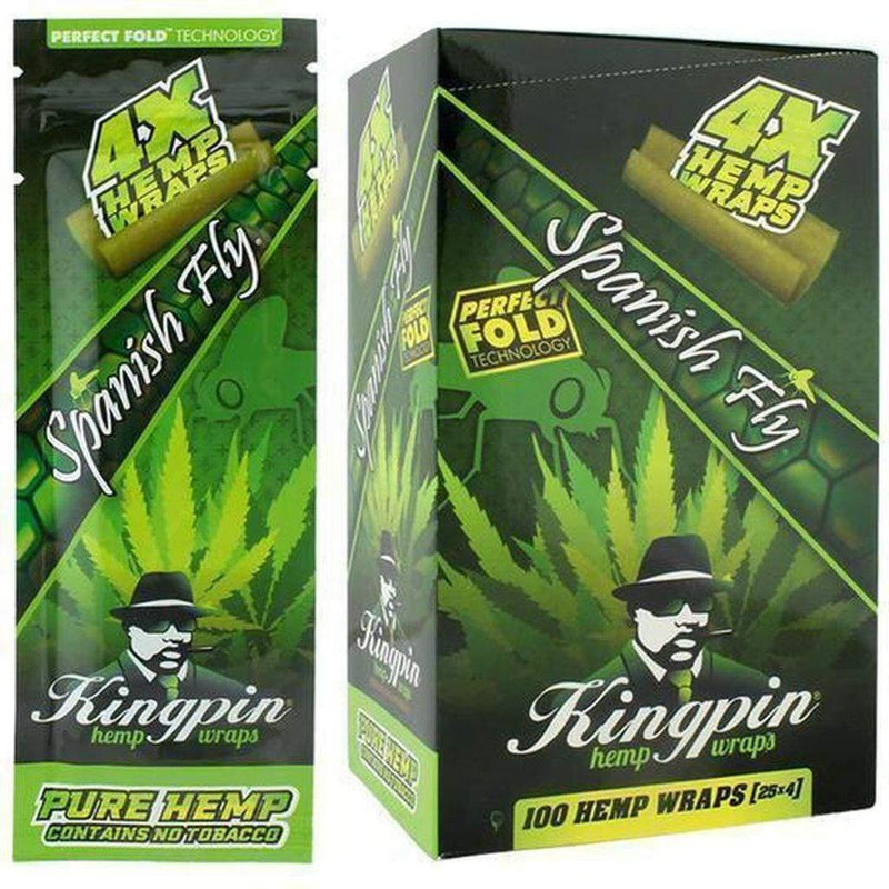 KINGPIN HEMP WRAPS SPANISH FLY 25X4 - Cig Corp Wholesalers