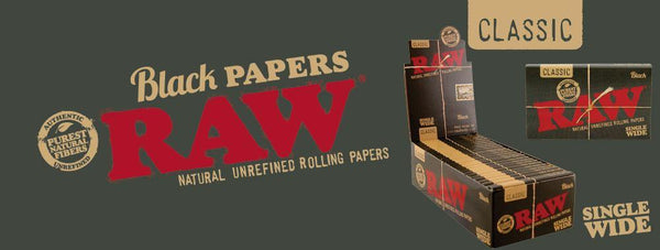 Raw Classic Black Single Wide 25 PACKS - Cig Corp Wholesalers