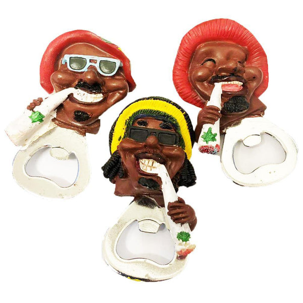 JAMAICAN SMOKING FIGURE BOTTLE OPENER WITH MAGNET