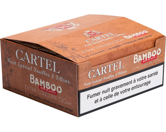 CARTEL EXTRA LONG 130 mm + TIPS, 14 gsm UNBLEACHED BAMBOO - Cig Corp Wholesalers