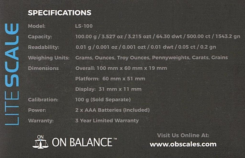 ON BALANCE LS SCALE ( 100G X 0.01G )
