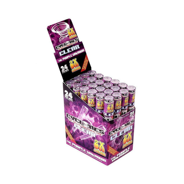 CYCLONES CLEAR PURPLE UNKNOWN CONES PRE-ROLLED 24 - Cig Corp Wholesalers