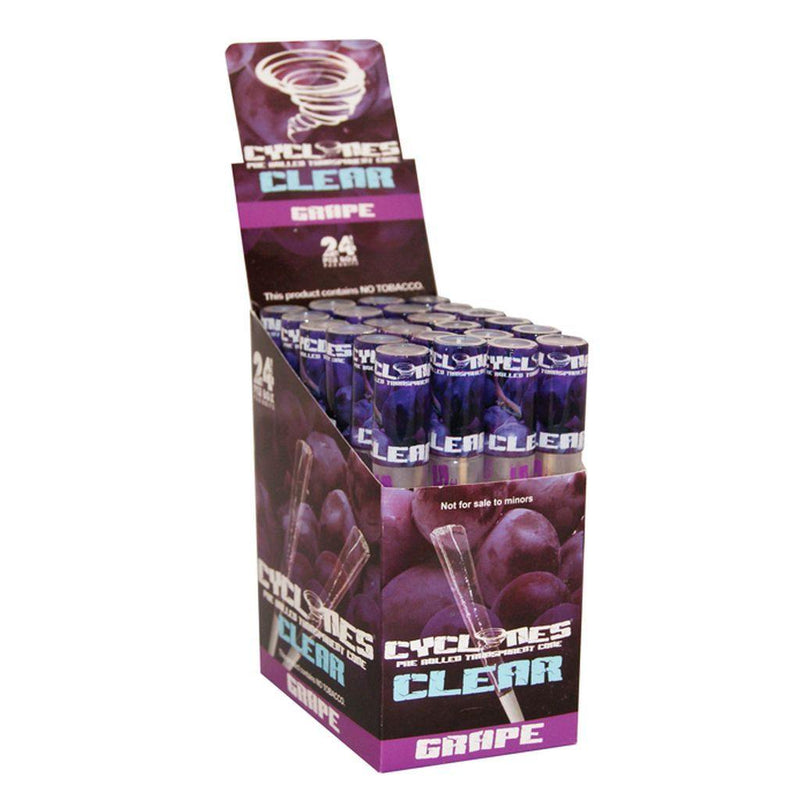 CYCLONES CLEAR GRAPE CONES PRE-ROLLED 24
